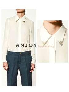 2012 New Style Womens Golden Collar Loose Chiffon Shirt Tops Blouse