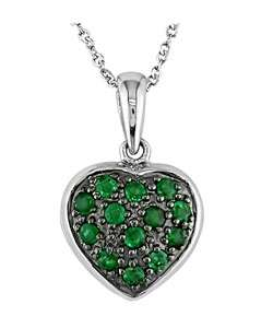 14k White Gold Emerald Heart Locket Necklace