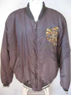 Mens PEPE JEANS London Brown Sewn Dragons REBEL Bomber Jacket 2XL 3XL