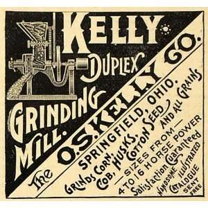 1890 Ad O.S. Kelly Duplex Grinding Corn Grain Mill