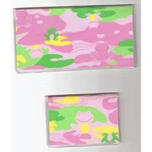 Cover Debit Set Happy Camo Camouflage Frog on Pink
