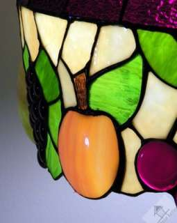 VTG Tiffany Style Leaded Stained Glass Lamp Shade Slumped Fruits