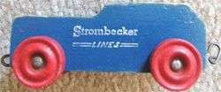 Vintage STROMBECKER LINES 3 Piece WOOD TRAIN SET with LOCOMOTIVE