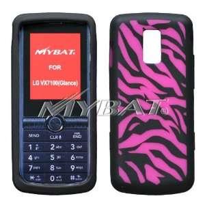 LG VX7100 Glance Laser Zebra Skin Hot Pink Black Skin Case