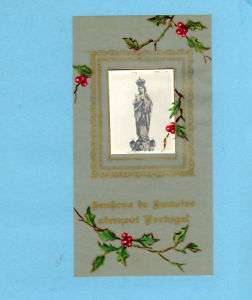 Vtg Hand painted HOLY CARD Our Lady SAMEIRO Portugal