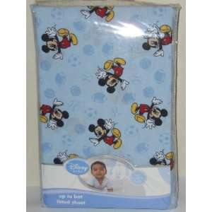 Disney Baby Mickey up to Bat Fitted Crib Sheet   Blue Baby