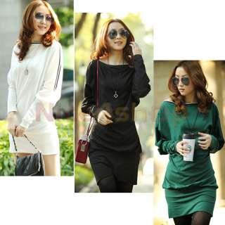 Fashion Ladies OFF SHOULDER Batwing Tunic Tops T shirt WOMENS Mini