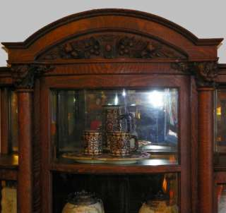 Antique Victorian Oak China Cabinet Curio with carved claw feet