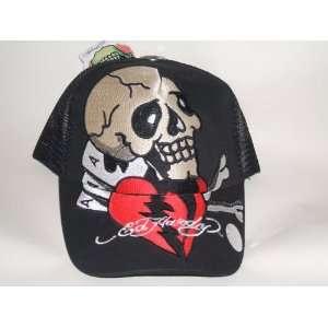 Ed Hardy Trucker Hat Black Skull with Broken Heart