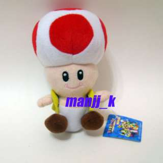 NEW 18cm Super Mario Bro Plush Doll Figure Red Toad