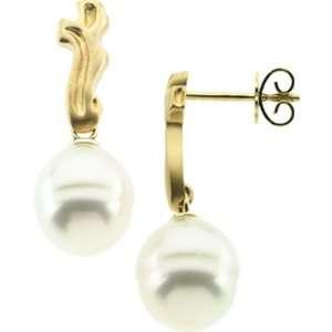11MM Baroque White Pearl Earrings  18K GEMaffair