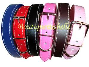 Flat leather dog collars Pink, Hot Pink, Red, Blue, Black, Brown