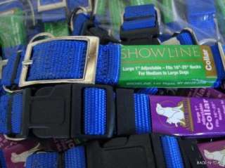 62 Wholesale QUALITY USA MADE Nylon BLUE Dog COLLARS L