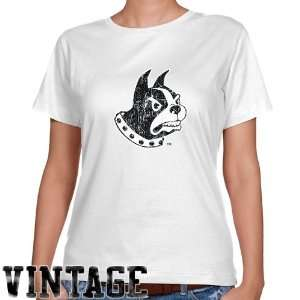 NCAA Wofford Terriers Ladies White Distressed Logo Vintage Classic Fit