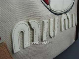 Auth Miu Miu Cotton Canvas Shopping Tote Bag Great