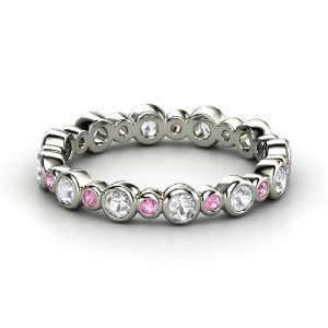 Heartbeat Band, 14K White Gold Ring with White Sapphire & Pink