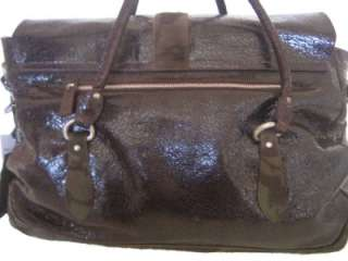 BORSE ITALY Brown Glazed Patent Leather NEW Large Work Hobo Bag