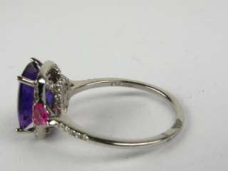 25ct Genuine Amethyst .15ctw Pink Sapphire & Diamond 14k WG Ring 2.8g