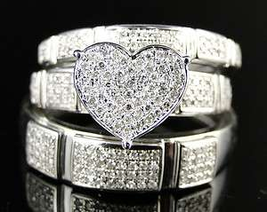 WHITE GOLD HEART ROUND CUT DIAMOND BRIDAL ENGAGEMENT RING TRIO SET