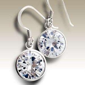 Sterling Silver Round LIGHT AMETHYST CZ Drop Earrings