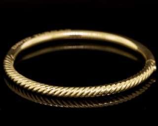David Yurman Designer Solid 18k Yellow Gold Cable Stackable Bangle