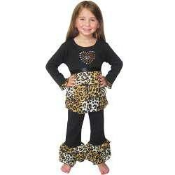 Loren Girls Rumba Cotton 2 piece Leopard Ruffle Shirt and Pant Set