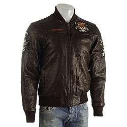 Ed Hardy Mens Tattoo Eagle Leather Jacket