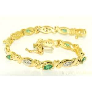 1.36 CTW Emerald & Diamond Tennis Bracelet 14K Yellow Gold