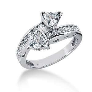 1.15 Ct Diamond Engagement Ring Wedding Band Heart Channel