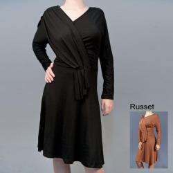 AtoZ Womens Draped Long sleeve Dress  Overstock