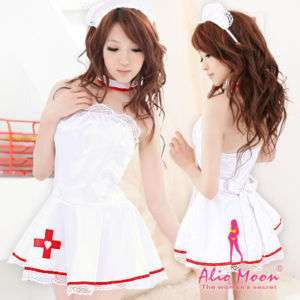 Japan Sexy White Nurse Red Cross Lace Hat Costume Dress