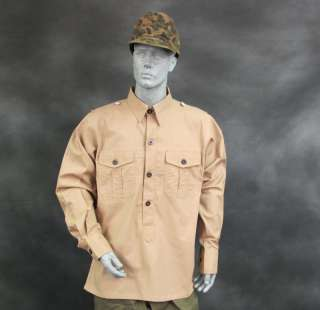 German WWII DAK Light Brown Field Shirt  L US 42 44