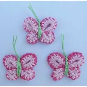20pc Hot Pink Crocheted Butterflies Appliques CR47 Arts