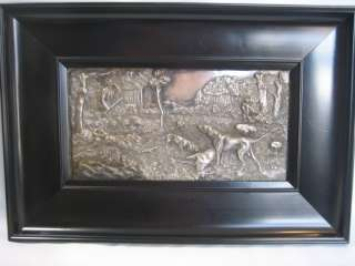 Antique Art Nouveau Silver Wall Plaque Hunter Stag & Hunting Dogs c