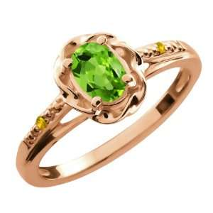 0.52 Ct Oval Green Peridot Yellow Sapphire Rose Gold