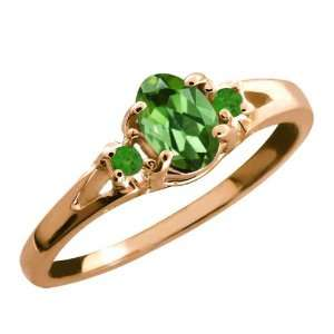 0.52 Ct Green Oval Tourmaline and Green Topaz Rose Gold