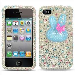 For Apple iPHONE 4 4S Full Diamond Case Blue Crystal Bling Cell Phone