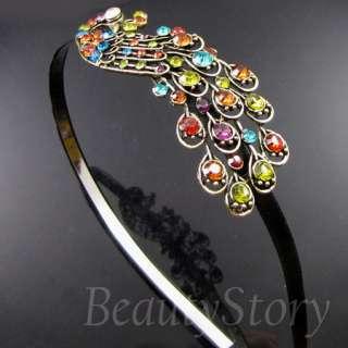 SHIPPING antiqued rhinestone crystal peacock hair band headband