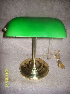 Vintage Brass Green Glass Shade Bankers Lamp