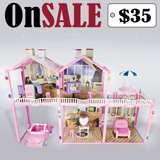 Toy House Fits Barbie Size Doll Furnitures 2.5 Ft Girl Dollhouse & Car