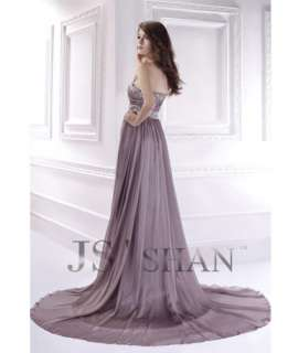 Gray Strapless Chiffon Train Formal Long Prom Gown Party Evening Dress