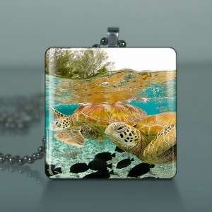 Sea Turtle Altered Art Glass Tile Necklace Pendant 523