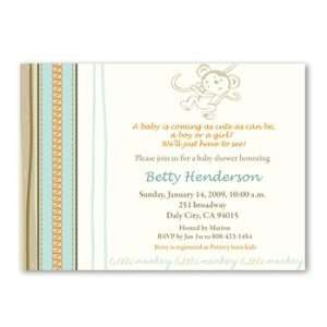 My Sweet Little Monkey Baby Shower Invitations: Baby