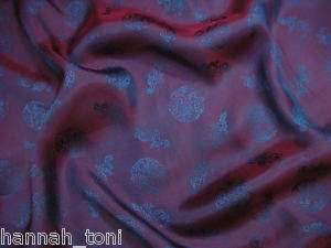 PURPLE BLUE DRAGON PATTERN SILK SATIN FABRIC by yard