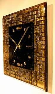 BNIB Brand New In Box GOLD mosaic ART GLASS Wall Clock ART DECO Style
