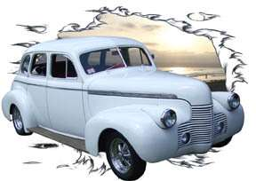 1940 White Chevy Sedan Custom Hot Rod SunSet T Shirt 40