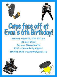 Ice Hockey Sport Custom Birthday Party Invitations Personalized