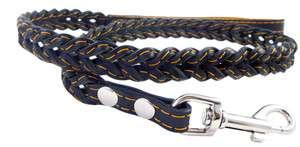 Black Braided Soft Leather Dog Leash 43 long 1 wide