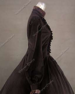 Civil War Victorian Panne Velvet Ball Gown Dress Prom Punk 182 M