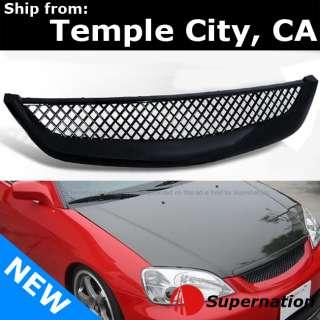 01 03 Honda Civic Front Bumper Hood 3D Black Mesh Grille Grill JDM